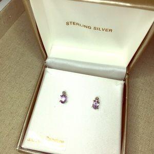 💍 GENUINE Diamond & Amethyst Stud Earrings